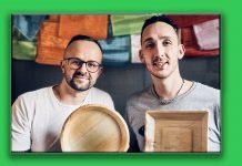 Dorsten. Paul Harazim und Adem Serilmez, die beiden Start-up-Gründer der Firma Pleta aus Dorsten stellen nachhaltige Teller her.